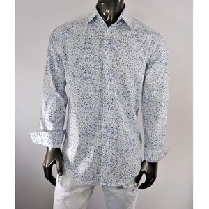 Calvin Klein White w/Blue Splash Long Sleeve Shirt